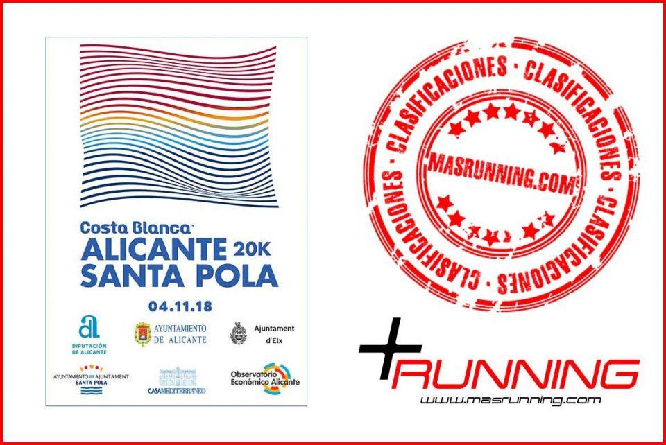 resultados 20K Alicante Santa Pola 2018